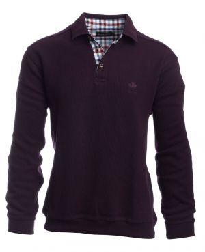 1483c0820f6439 Long sleeve polo-shirt, soft touch BURGUNDY
