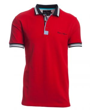 Short sleeve PIQUE polo-shirt RED striped collar