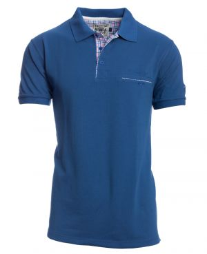 Short sleeve polo-shirt, JEANS piqué with pocket