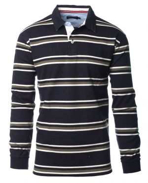 Long sleeves polo-shirt striped, NAVY