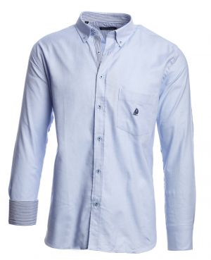 Long sleeve 100% COTTON shirt, SKY BLUE OXFORD