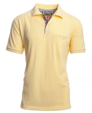 Short sleeve polo-shirt, YELLOW piqué with pocket