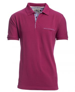 Short sleeve polo-shirt, PURPLE piqué with pocket