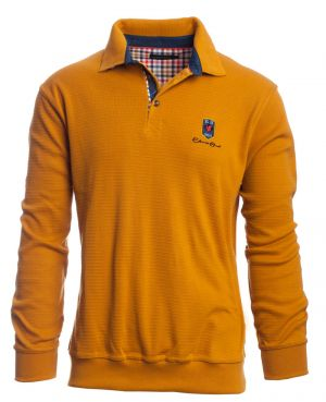 Long sleeve polo-shirt, OCHER with denim elbows and collar