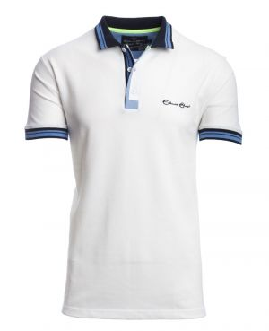 Short sleeve PIQUE polo-shirt WHITE striped collar
