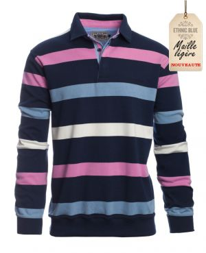 Long sleeve polo-shirt, NAVY PINK BLUE WHITE stripes