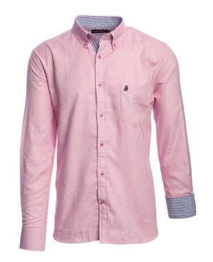 Long sleeve 100% COTTON shirt, PINK OXFORD