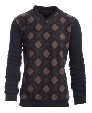 Sweat Homme col V losanges ANTHRACITE BEIGE - Ethnic Blue