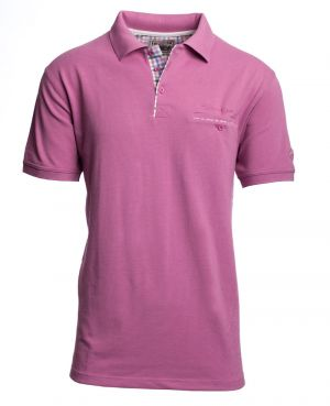 Short sleeve polo-shirt, DARK PINK piqué with pocket
