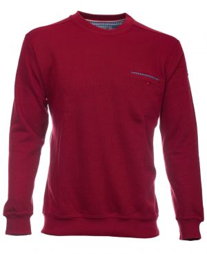 Sweat-shirt col rond uni ROUGE poche