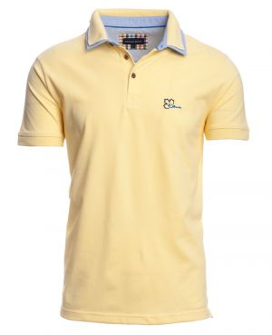 Short sleeve polo-shirt, YELLOW pique double collar - Ethnic Blue