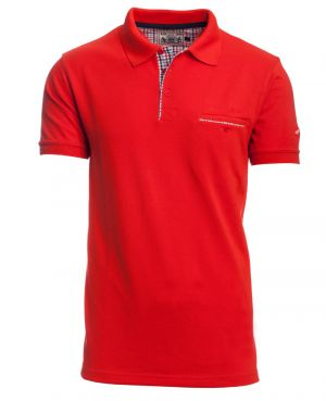 Short sleeve polo-shirt, BRIGHT RED piqué with pocket