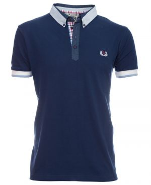 Short sleeve polo-shirt, NAVY shirt collar