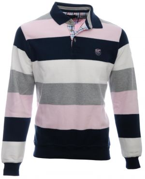 Polo manches longues rayé, ROSE / MARINE / BLANC / GRIS