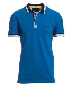 Short sleeve PIQUE polo-shirt BLUE striped collar