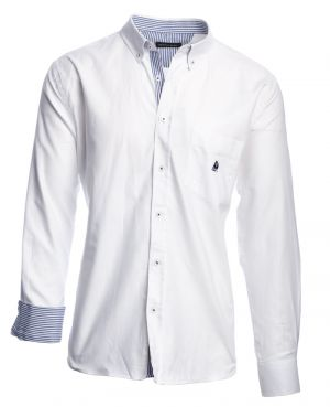 Long sleeve 100% COTTON shirt, WHITE OXFORD