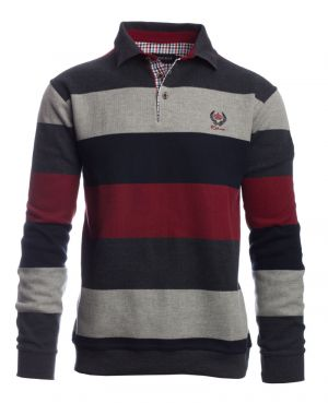 Long sleeve polo-shirt, NAVY / GREY / RED stripes