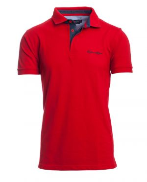 Short sleeve polo-shirt, RED piqué denim collar