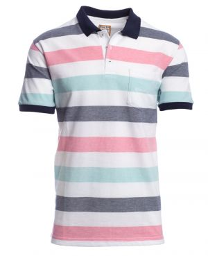 Short sleeve polo-shirt, BLUE / TURQUOISE / PINK / WHITE stripes