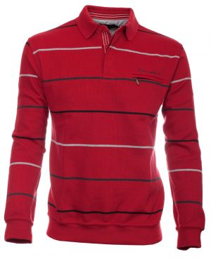 Long sleeve polo-shirt, RED / GREY / BLACK stripes