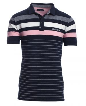 Short sleeve polo-shirt, NAVY / PINK / WHITE stripes