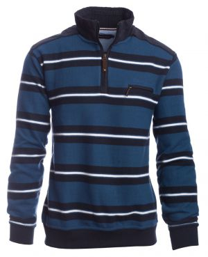 Zip neck sweater royal blue striped
