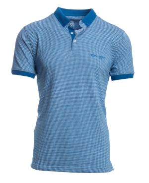 Short sleeve polo-shirt, HOUNDSTOOTH Blue