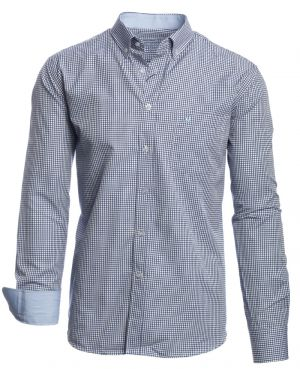 Long sleeve shirt, POCKET, small woven checkered navy and white