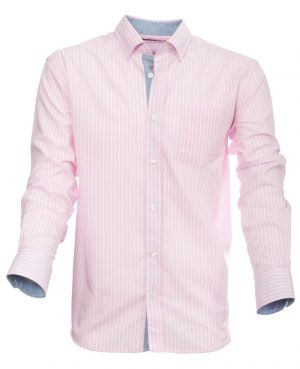 Long sleeve shirt, POCKET, pink white stripes