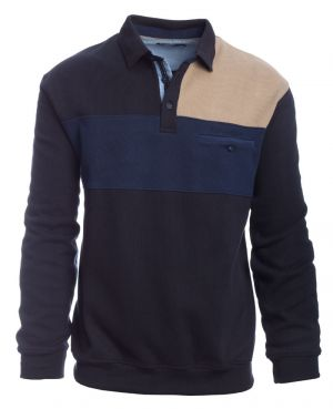 Long sleeve polo-shirt three colors, navy, denim blue, beige, pocket
