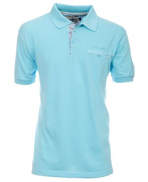 Short sleeve polo-shirt, AQUA BLUE piqué with pocket