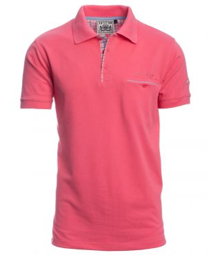 Short sleeve polo-shirt, PINK piqué with pocket 3XL - 4XL