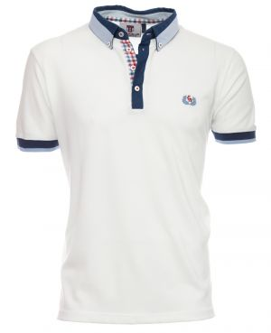 Short sleeve polo-shirt, WHITE shirt collar