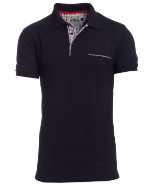 Short sleeve polo-shirt, MIDNIGHT BLUE piqué with pocket