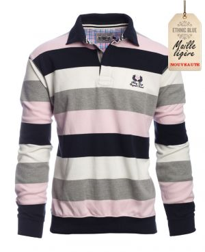 Polo manches longues rayé, MARINE BLANC GRIS ROSE
