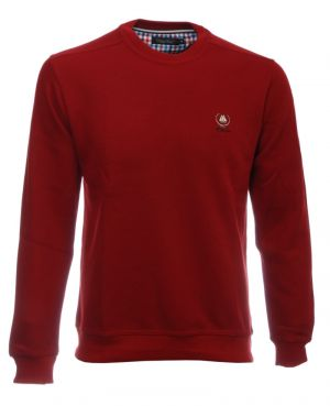 Sweat-shirt col rond uni ROUGE