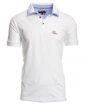 Short sleeve polo-shirt, WHITE pique double collar