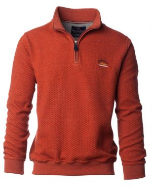 Sweat col zip orange maille gaufrée - Ethnic Blue