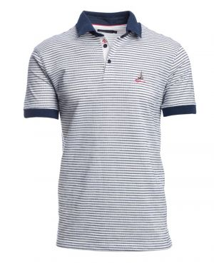 Short sleeve polo-shirt, WHITE / BLUE stripes