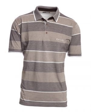 Short sleeve polo-shirt, BROWN BEIGE WHITE chiné