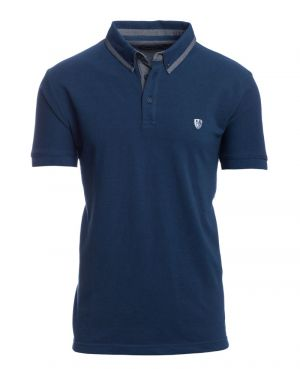 Short sleeve polo-shirt, BLUE piqué fancy collar