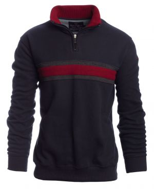 Zip neck sweater NAVY with RED stripe