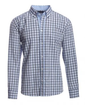 POCKET, navy sky blue white checkered