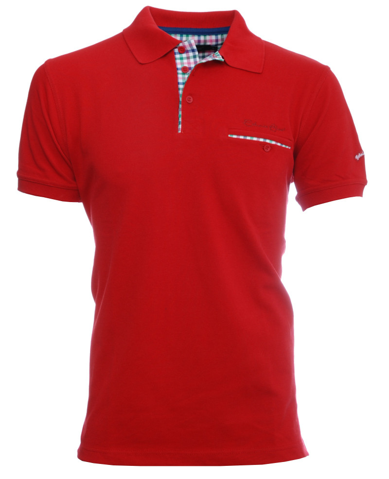 Short sleeve polo-shirt, RED piqué with pocket - Ethnic Blue