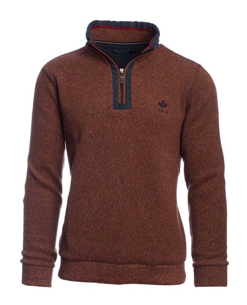 PREMIUM Collection - Sweat col zip coudières chiné ORANGE en maille EPAISSE - Ethnic Blue