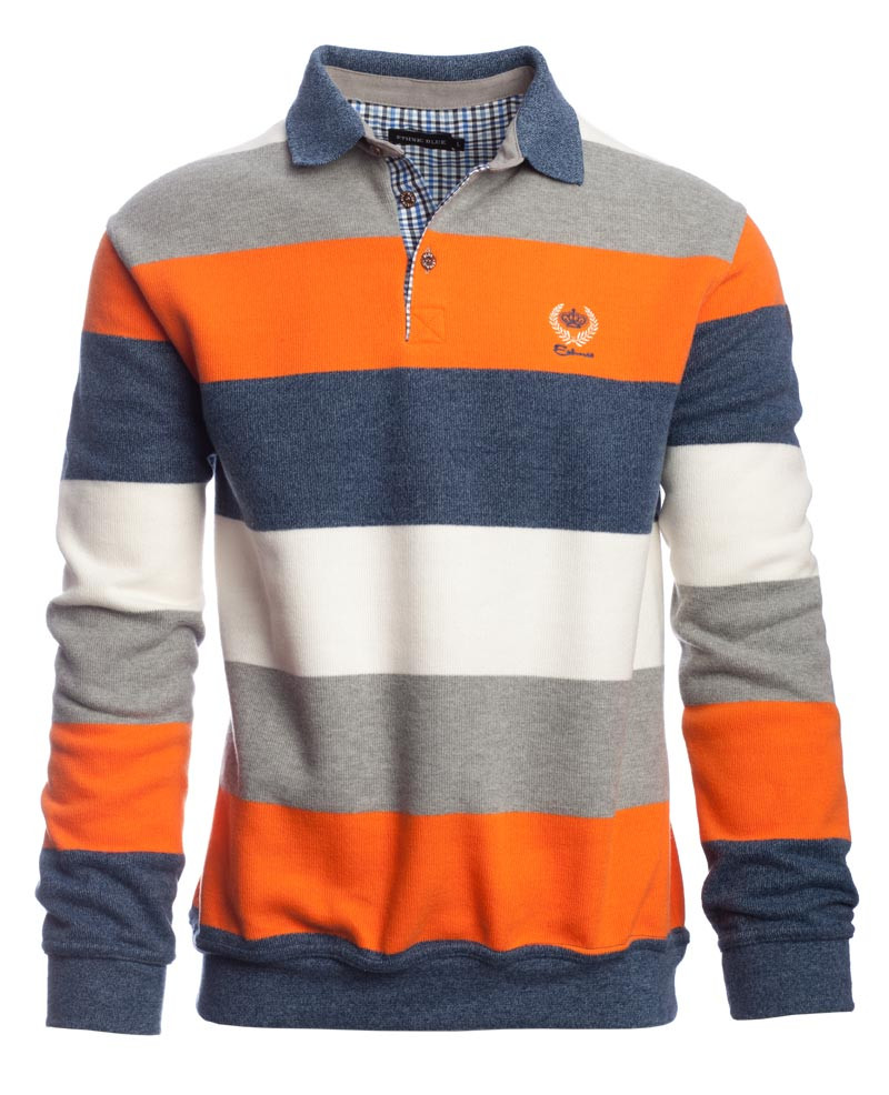 Polo manches longues rayé, ORANGE / INDIGO / ECRU / GRIS - Ethnic Blue