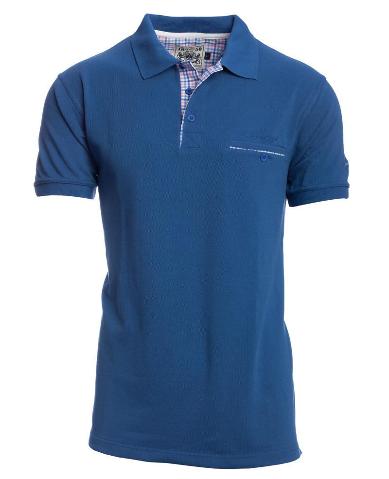 Short sleeve polo-shirt, JEANS piqué with pocket - Ethnic Blue