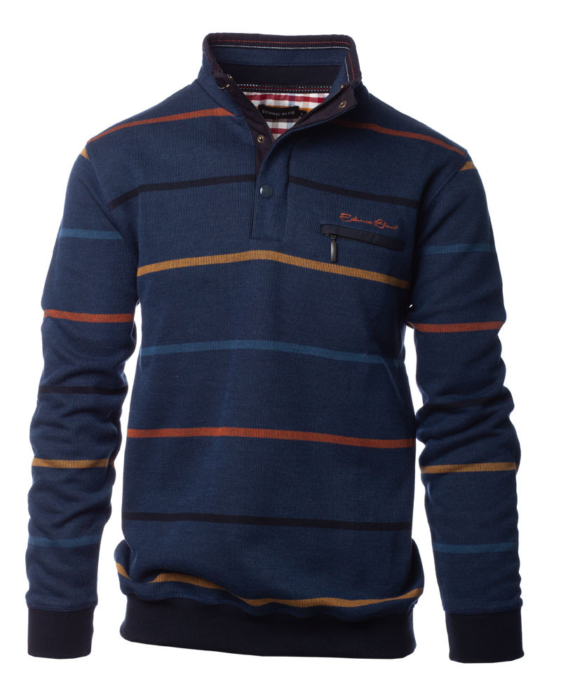 Sweat col zip et boutons bleu denim rayures ocre orange marine - Ethnic Blue