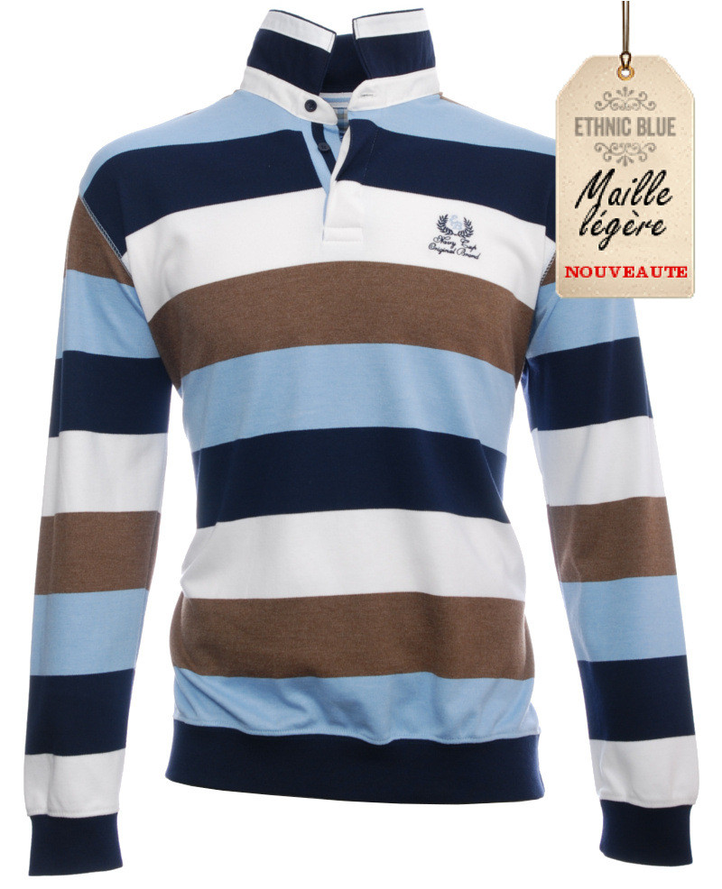 Long sleeve polo-shirt, NAVY / BROWN / SKY BLUE stripes - Ethnic Blue