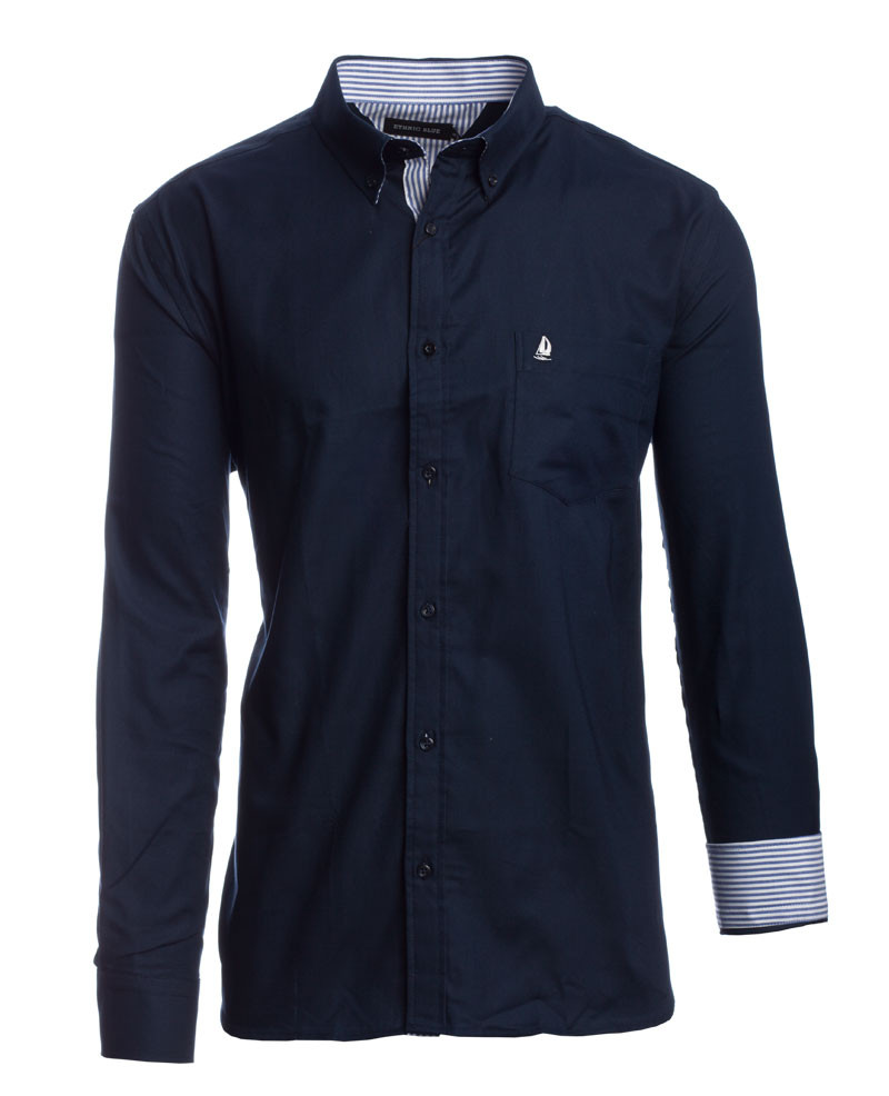 Chemise 100% COTON manches longues OXFORD MARINE - Ethnic Blue